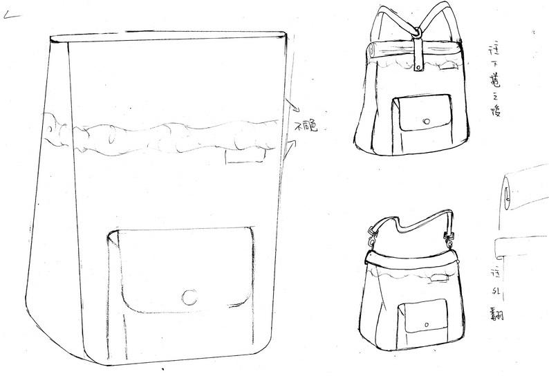 复杂包包款式手绘设计图